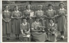 Image 7 of 23 : 1956 approx - back row, LtoR: Rosemary Sands, Janet Grimes, Pam Jeffries, Sue Pimlott, Helen Wright, Karina Williams. Front row (LtoR) Madeleine Lloyd, Dorothy Bean, Sandra Thornton