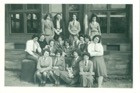 Image 4 of 8 : Front row (LtoR) Helena Kovak, ? Tanner, ?, ?. Next row (Lto R) Phyllis Adams, Christine Clague. Teacher at back (2nd left) Mrs Rutler - taught Latin.